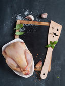 Vintage chalk board with spatula and spice — Stock Photo