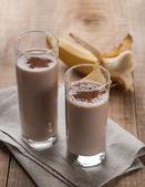 Chocolate and banana smoothie (milkshake) — Stock Photo