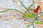 Road map to Newcastle upon tyne — Stock Photo