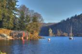 Lake Vyrnwy boathouse — Stock Photo