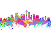 Watercolor art print of the skyline of Seattle  United States — Stock Photo