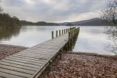 Wooden jetty in the lake district — Stock Photo