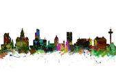 Watercolor Skyline of Liverpool — 图库照片
