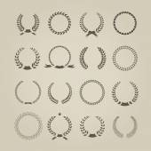 Collection of sixteen circular vintage laurel wreaths for use as design elements in heraldry  on an award certificate  manuscript and to symbolise victory  vector illustration in silhouette — Stock Vector