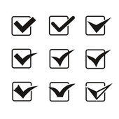 Set of nine different grey and white  check marks or ticks in boxes — Stockfoto