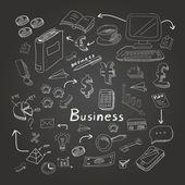 Doodle business diagrams set on blackboard vector illustration — Stock Vector