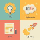Set of start up icons for new business, ideas, innovation and development. — Stockvector