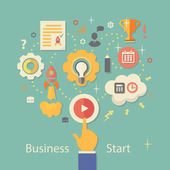 Business Startup Vector Illustration.   Gears infographics with people and icons — Vector de stock