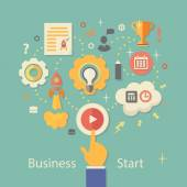 Business Startup Vector Illustration.   Gears infographics with people and icons — 图库矢量图片