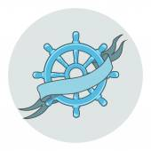 Ship Wheel Banner isolated  whith ribbon — Stock Vector