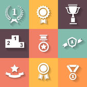 Set of white vector award  success and victory icons with trophies  stars  cups  ribbons  rosettes  medals medallions — Stock Vector