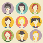 Vector collection of women avatars in flat style — Stock Vector