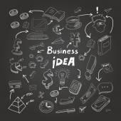 Business doodles, chalk on blackboard. Vector eps10 illustration — Stock Vector