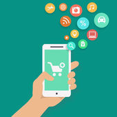 Smartphone apps shopping infographics with  hand holding a phone — Zdjęcie stockowe