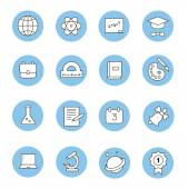 Education and learning flat thin line  icons set, modern vector collection of high school objects and college items, teaching symbols and educational equipment. — Stock Vector