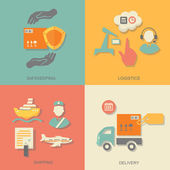Set of logistics safekeeping delivery shipping isolated vector illustration — Vector de stock