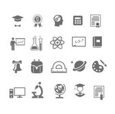 Black and white silhouette school  education icons on  vector illustration — Stock Vector