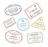 International business travel visa stamps set vector — Stock Vector