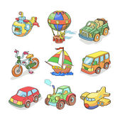 Cartoon collection of Transportation- Colored — Stock Vector