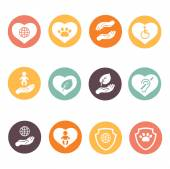 Charity donation social services and volunteer white round buttons icons — Stock Vector