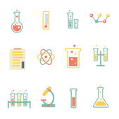 Set of flat science icons — Stock Vector