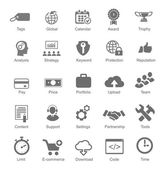Set  silhouetted black and white SEO  internet icons for optimising a website — Stock Vector