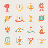 First Place Badges and Winner Ribbons vector illustration — Stock Vector