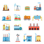 Industrial building factories and plants icons set isolated vector illustration. — Stock Vector