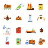 Oil extraction gas production transportation and distribution pictograms collection with industrial complex petroleum pump isolated vector illustration — Stock Vector
