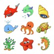 Vector illustration of Sea Animals Collection — Stock Vector #58805431