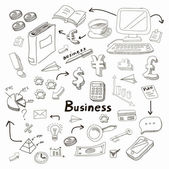 Doodle business diagrams set on blackboard  illustration — Stock Photo