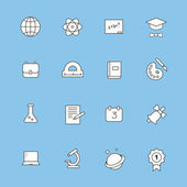 Education and learning flat thin line  icons set, modern  collection of high school objects, college items, — Stock Photo