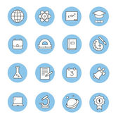 Education and learning flat thin line  icons set, modern  collection of high school objects, college items, teaching symbols, educational equipment. — Stock Photo