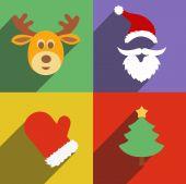 Santa claus and christmas  New Year flat design long shadows — ストックベクタ