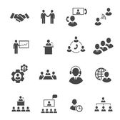 Business people online meeting strategic pictograms set of presentation  conference  teamwork isolated  illustration — Stock Photo