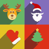 Santa claus and christmas  New Year flat design long shadows — Foto Stock