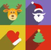 Santa claus and christmas  New Year flat design long shadows — Zdjęcie stockowe
