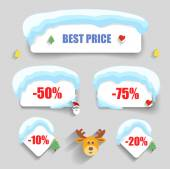 Winter design Christmas sale stickers discounts — Stock Vector