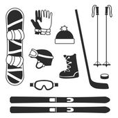 Winter sports equipment icons silhouettes collection — Stock Vector