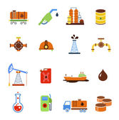 Oil extraction gas production transportation and distribution pictograms collection with industrial complex petroleum pump isolated  illustration — Stock Photo