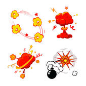 Comic Book Explosion, Bombs And Blast Set, cartoon fire bomb, bang and exploding symbols — Stock Vector