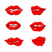 Set of red lips — Stock Vector