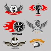 Car racing badges and motorcycle service, Championship logos — Stock Vector