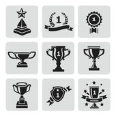 Vector set of black trophy and awards icons — Stock Vector