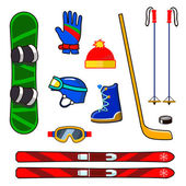 Winter sports equipment icons set — Stock Vector