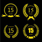 Celebrating 15 Years Anniversary - Golden Laurel Wreath   Vector — Vetorial Stock