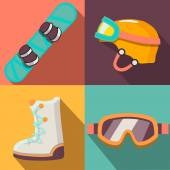 Winter sport flat icons collection — Stock Vector