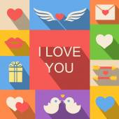 Valentines day and wedding icons background flat style — Διανυσματικό Αρχείο