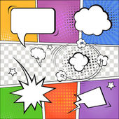 Comic speech bubbles and comic strip on colorful halftone background  illustration — Stock Photo