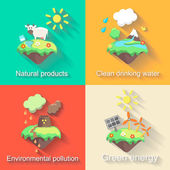 Set of vector flat design concept illustrations with icons  ecology, environment, green energy and pollution — Stock Vector